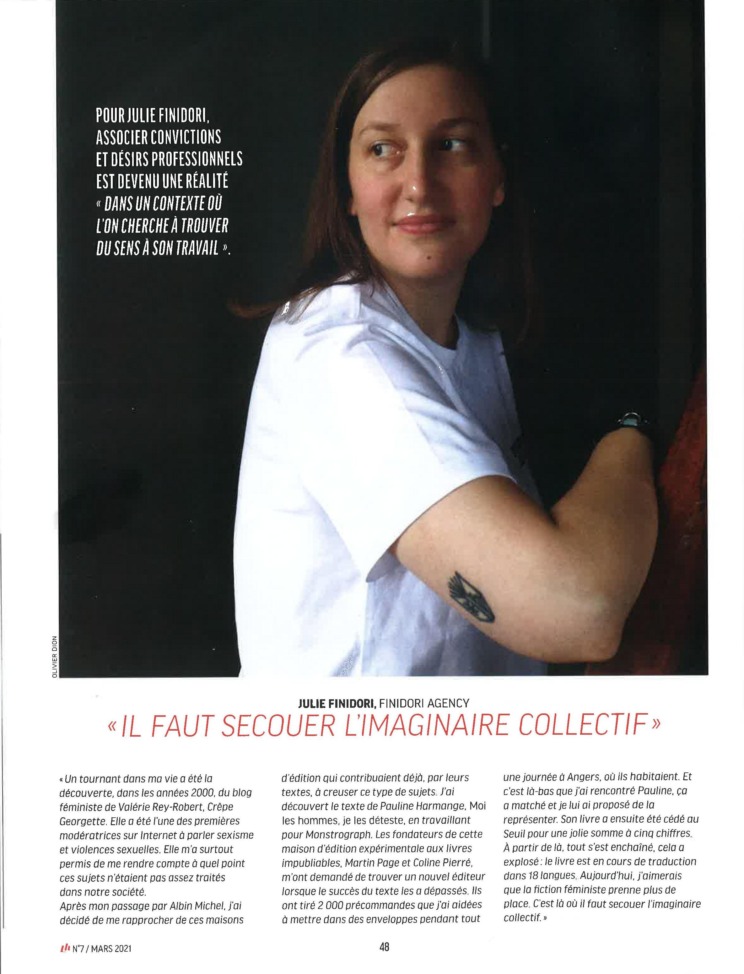 """Julie Finidori dans l'article """"Les agentes secrètes du féminisme"""" du Livres Hebdo de mars 2021."""